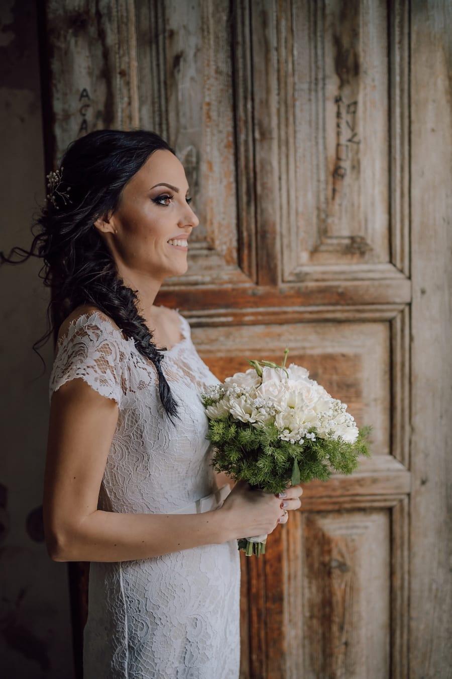 ozdobný, svatební kytice, svatební šaty, nevěsta, osoba, princezna, Žena, móda, svatba, závoj