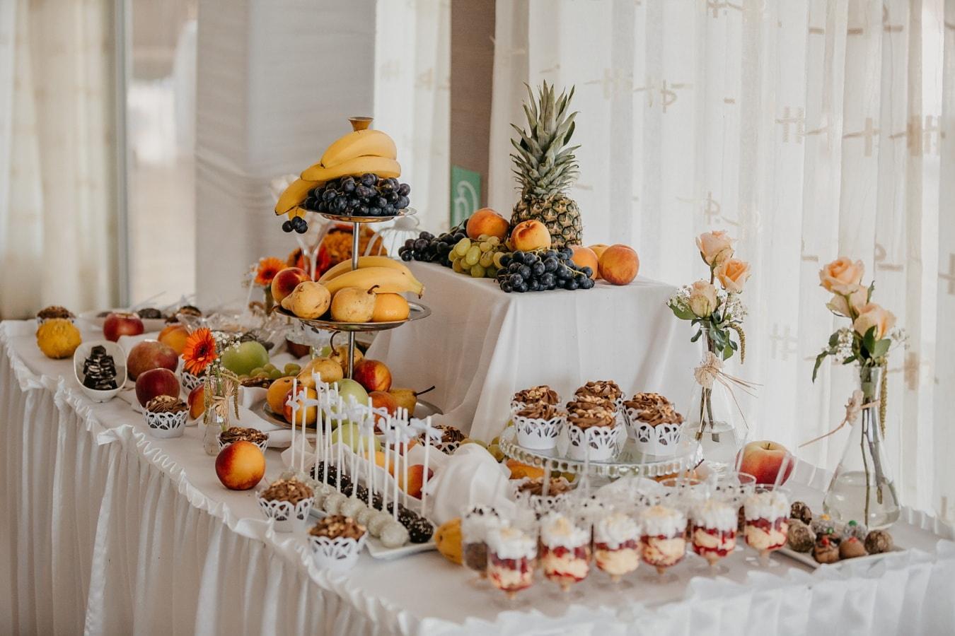 deserts, fruit, food, banquet, cupcake, fancy, decoration, indoors, luxury, leaf