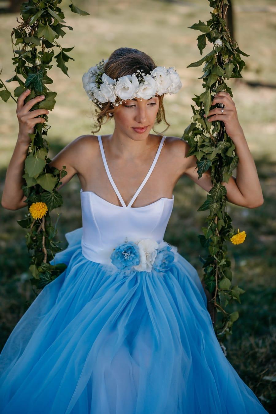 nimf, prachtige, godin, mooi meisje, schommel, jurk, bloemen, rok, bruid, mode