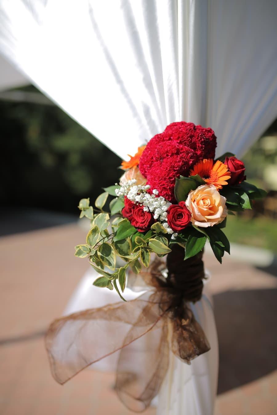 salle de mariage, rideau, bouquet, fleurs, mariage, fleur, Rose, décoration, feuille, des roses