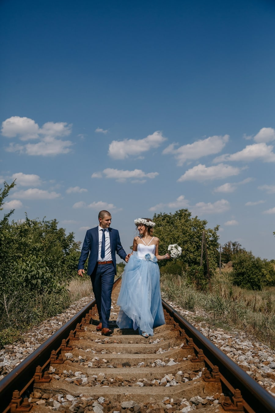 countryside, romantic, love, railroad, just married, track, wedding, girl, nature, woman