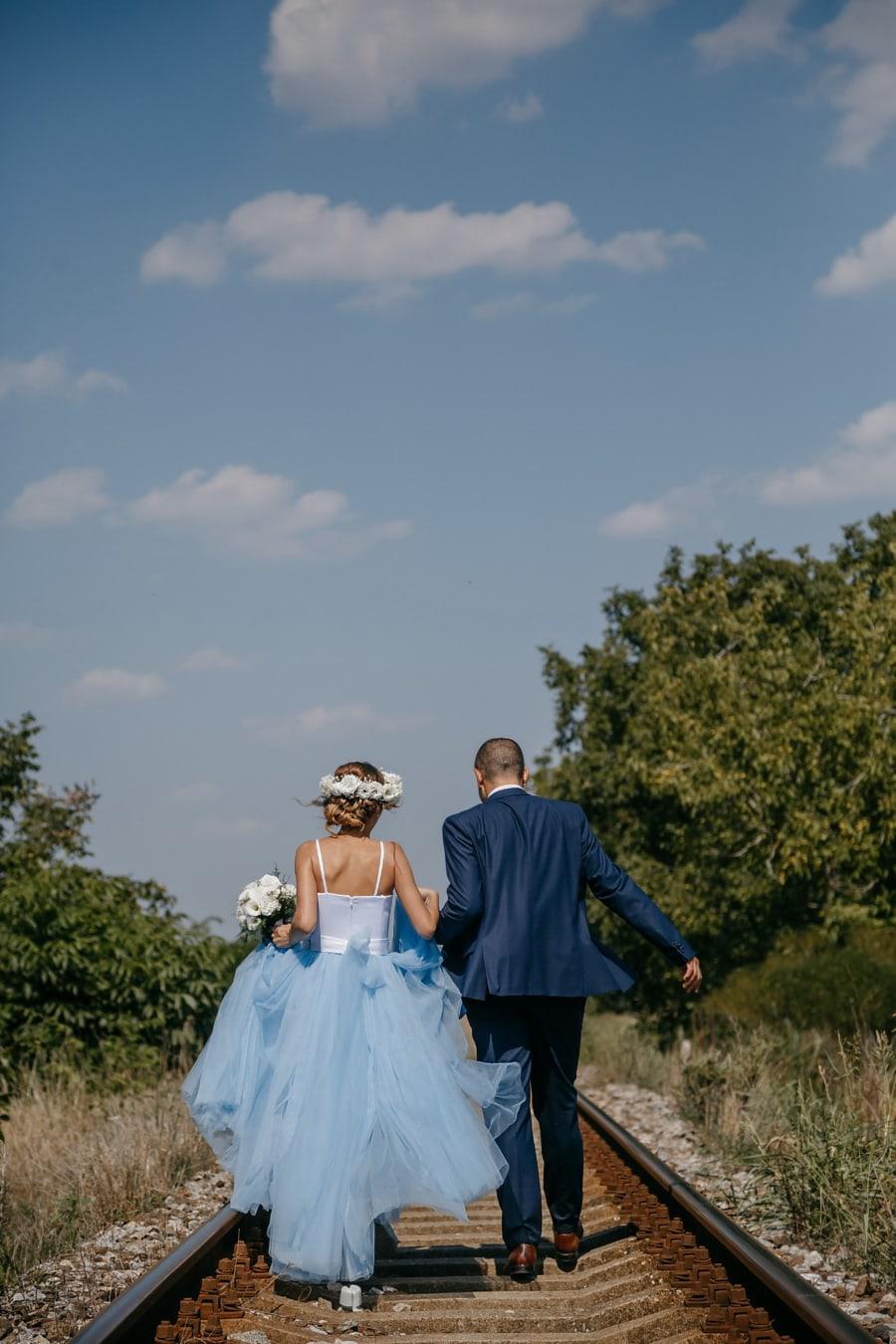 happiness, newlyweds, railway, railroad, wedding, bride, groom, dress, love, romance