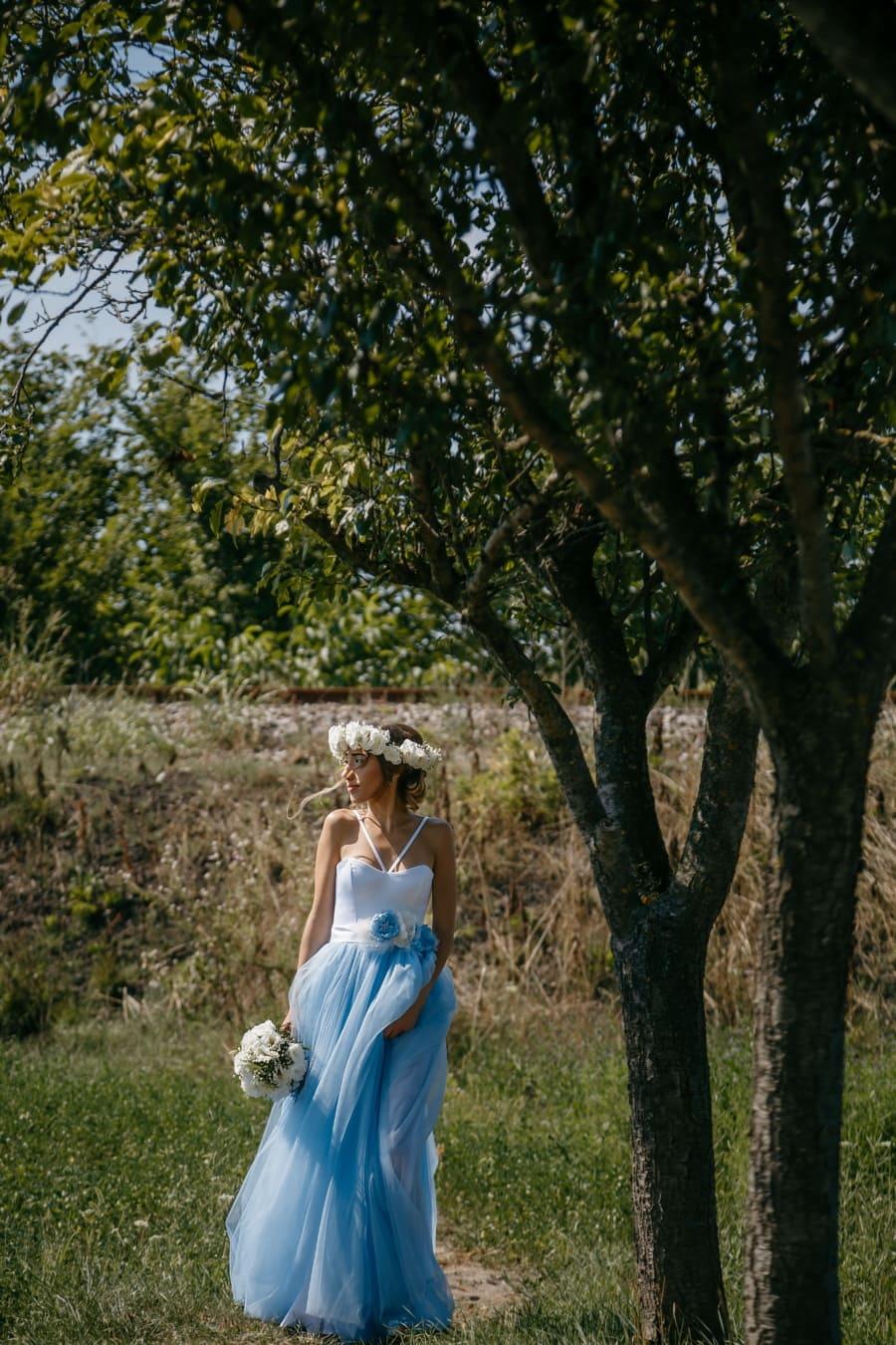 Göttin, Griechenland, hübsches mädchen, Obstgarten, Natur, herrlich, Struktur, Mädchen, Kleid, Frau