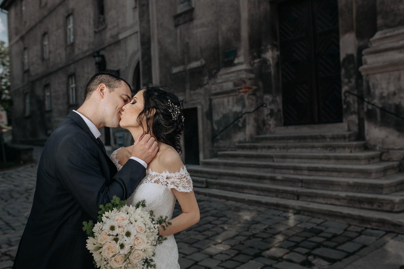 professionelle, Hochzeit, Bild, Frau, Bräutigam, Blumenstrauß, Kleid, Braut, Ehe, paar