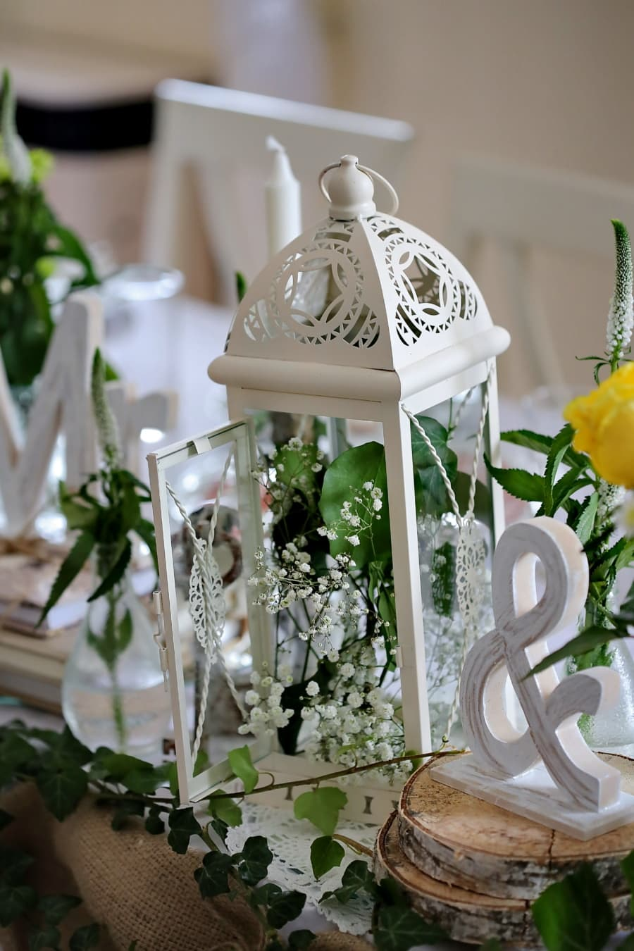 linterna, flor, diseño de interiores, naturaleza muerta, adentro, recepción, elegante, decoración, romance, color de rosa