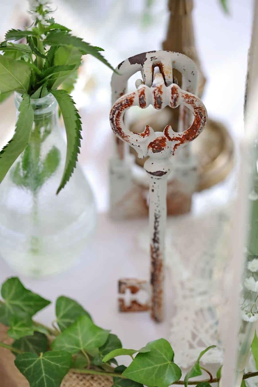 key, metal key, old, old fashioned, rust, metal, old style, leaf, decoration, still life