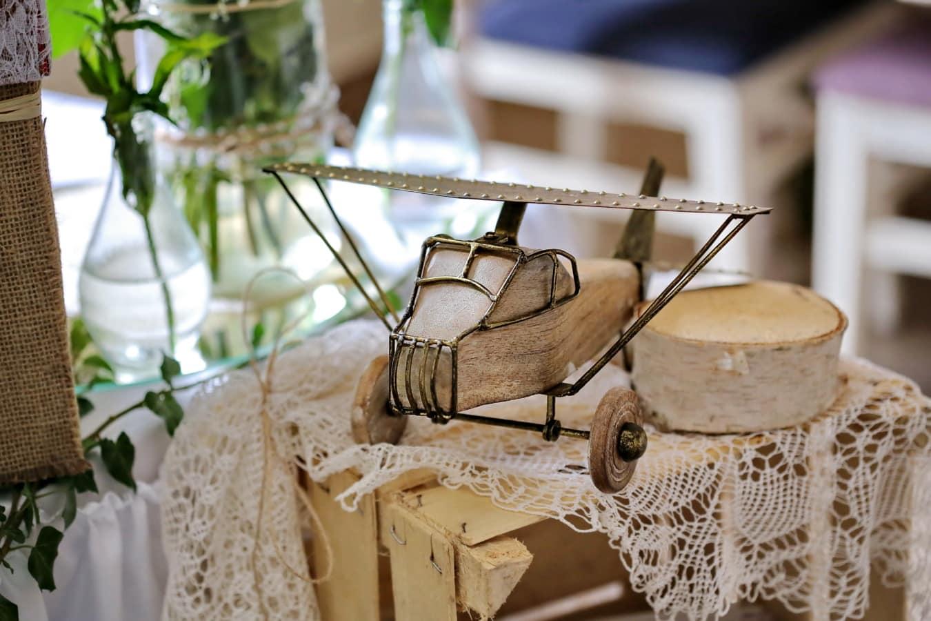biplan, jouet, avion, fait main, bois, traditionnel, Retro, nature morte, marchandise, vieux