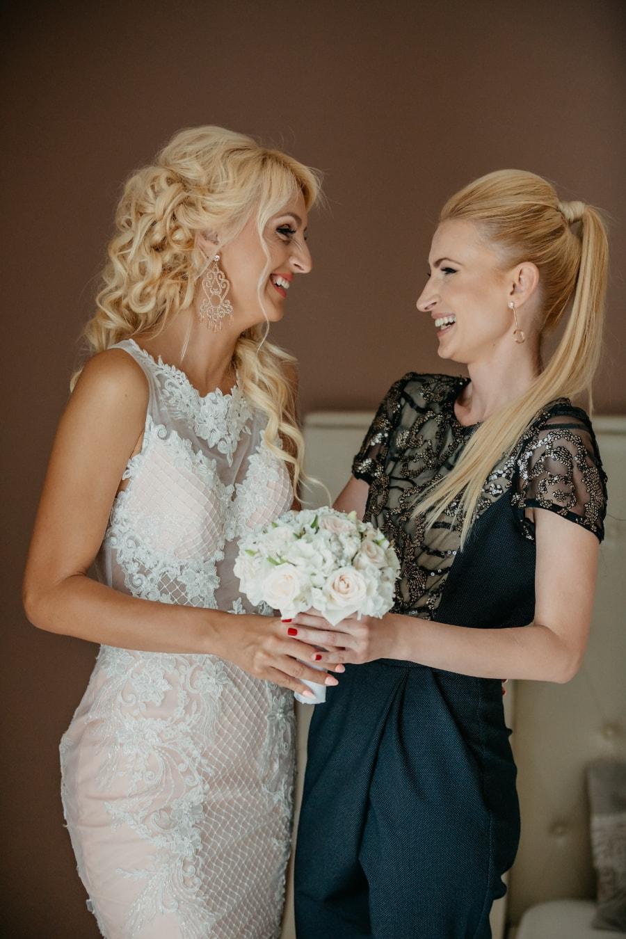 relation, amitié, amicale, femmes, cheveux blonds, la mariée, femme, mode, jeune fille, jeune marié