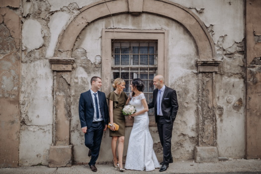 wedding, bride, groom, friends, godfather, friendship, architecture, building, old, people