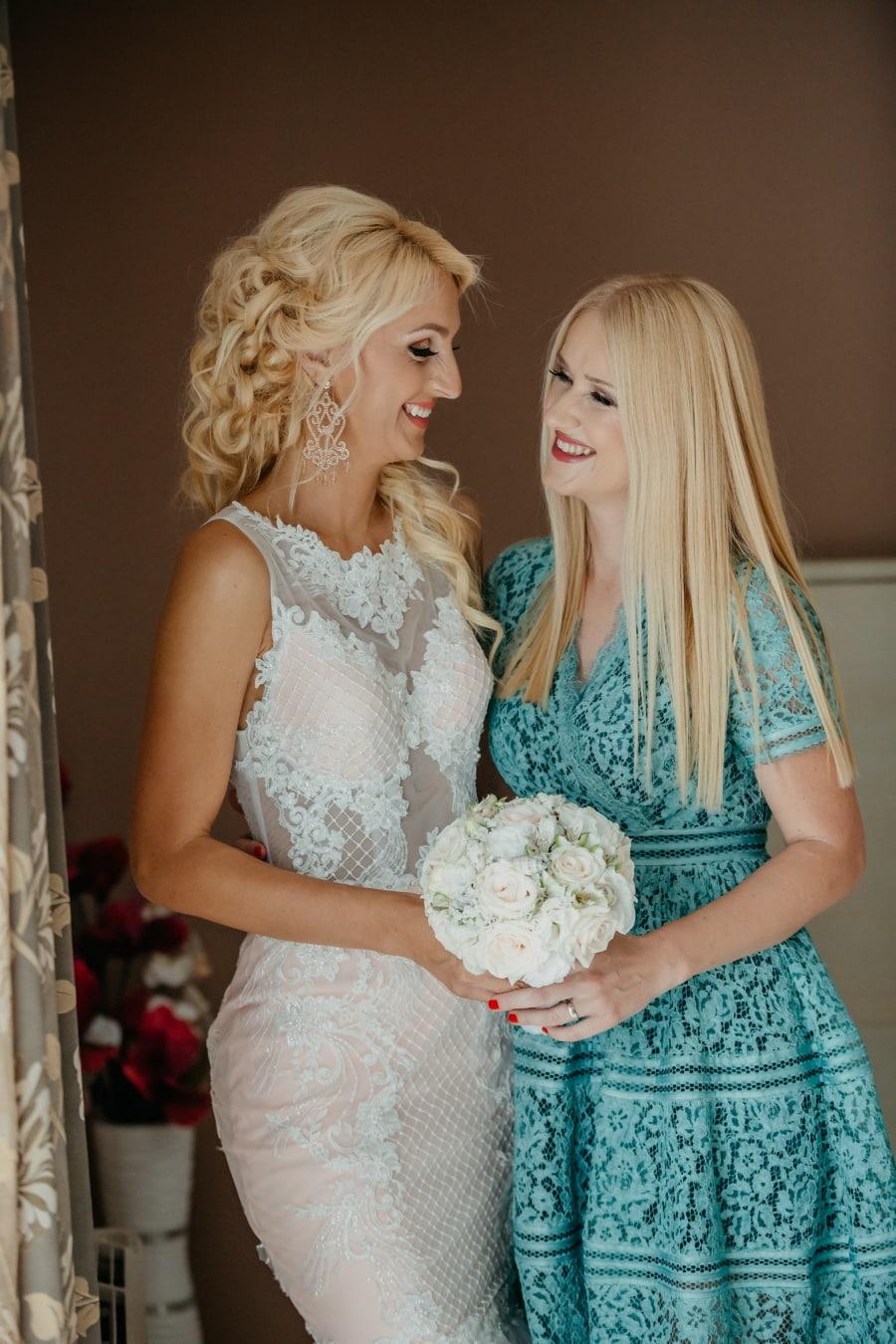 Mädchen, Blondine, Freundin, Beziehung, Mädchen, Frau, blond, Hochzeit, Mode, Kleid