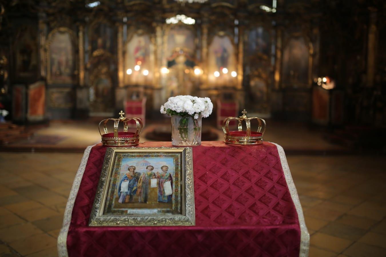 Serbie, orthodoxe, Église, autel, icône, Saint, couronnement, Couronne, bougie, structure