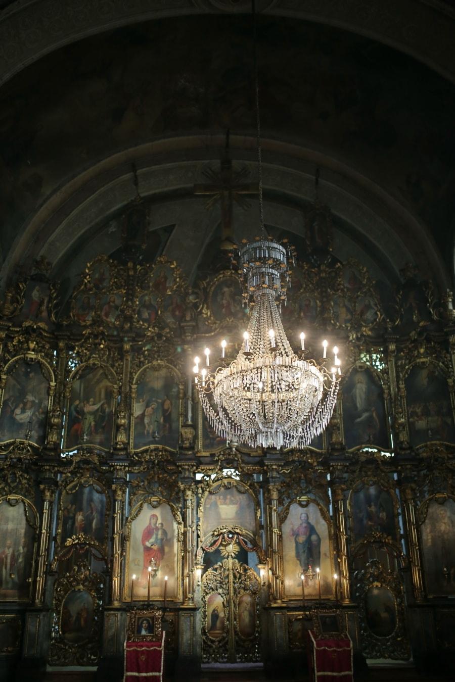 Ukraina, ortodokse, kirke, alteret, kristendom, innsiden, lysekrone, krystall, arkitektur, struktur