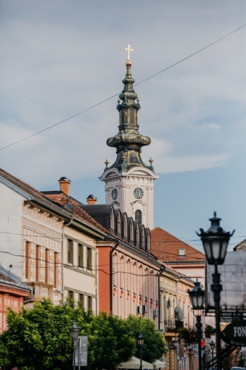 Novi Sad downtown, Serbia, street, famous, landmark, architecture, tower, building, city, church