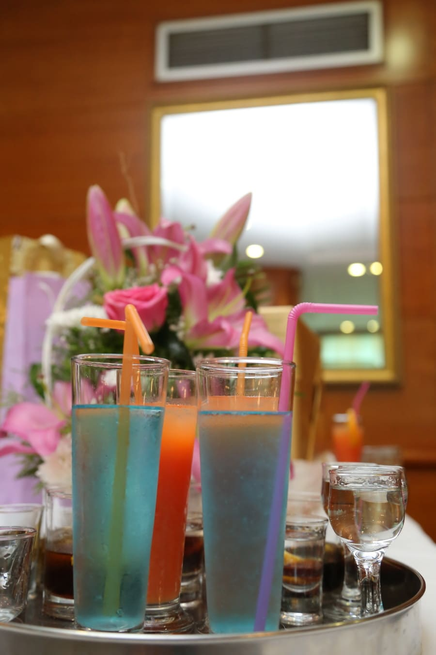 blue, cocktails, fancy, partners, parrots, drinking straw, beverage, party, candle, glass