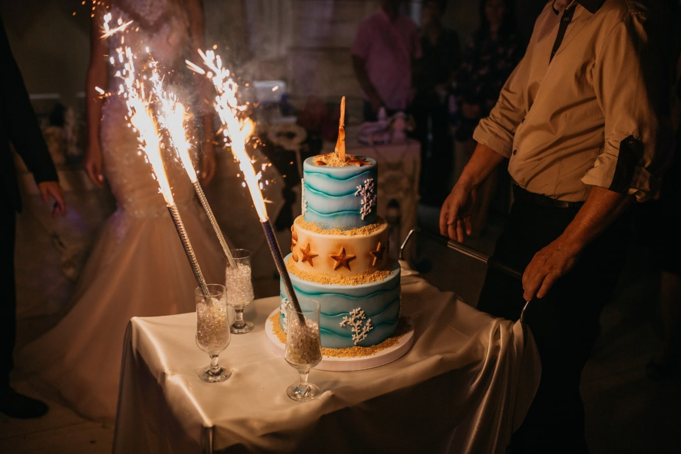 fancy, wedding cake, bartender, candle, flame, people, wedding, celebration, woman, candlelight