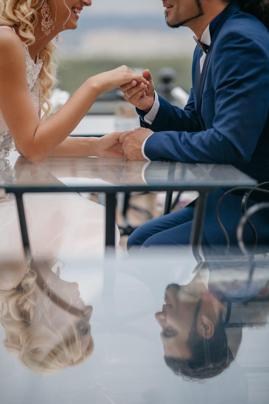 déjeuner, romantique, bonne humeur, petit ami, petite amie, table, réflexion, femme, homme, gens