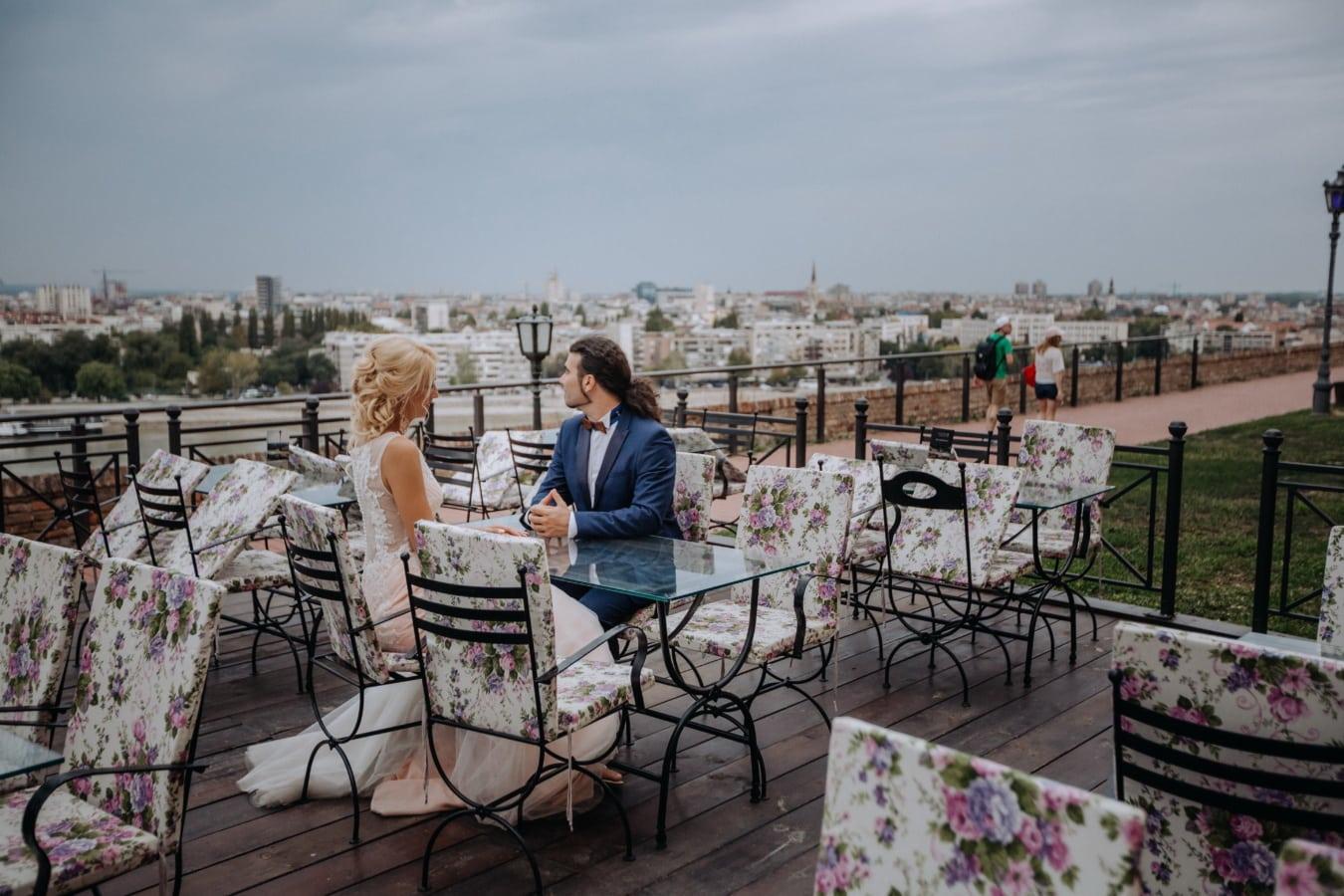 lunch, romantic, panorama, boyfriend, girlfriend, urban area, downtown, resort area, patio, area