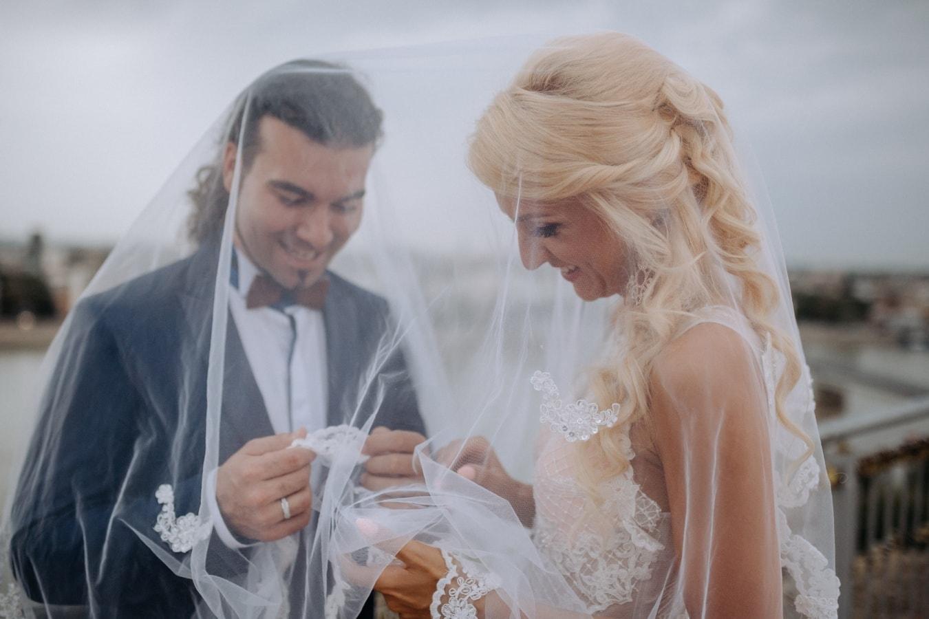 groom, newlyweds, bride, underneath, wedding dress, marriage, engagement, love, woman, romance