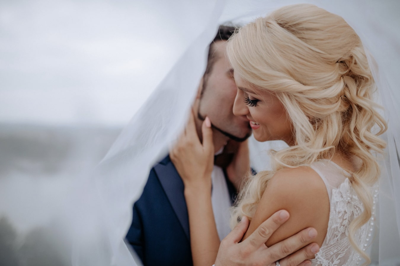 wedding dress, veil, kiss, enjoyment, bride, woman, wedding, portrait, love, groom