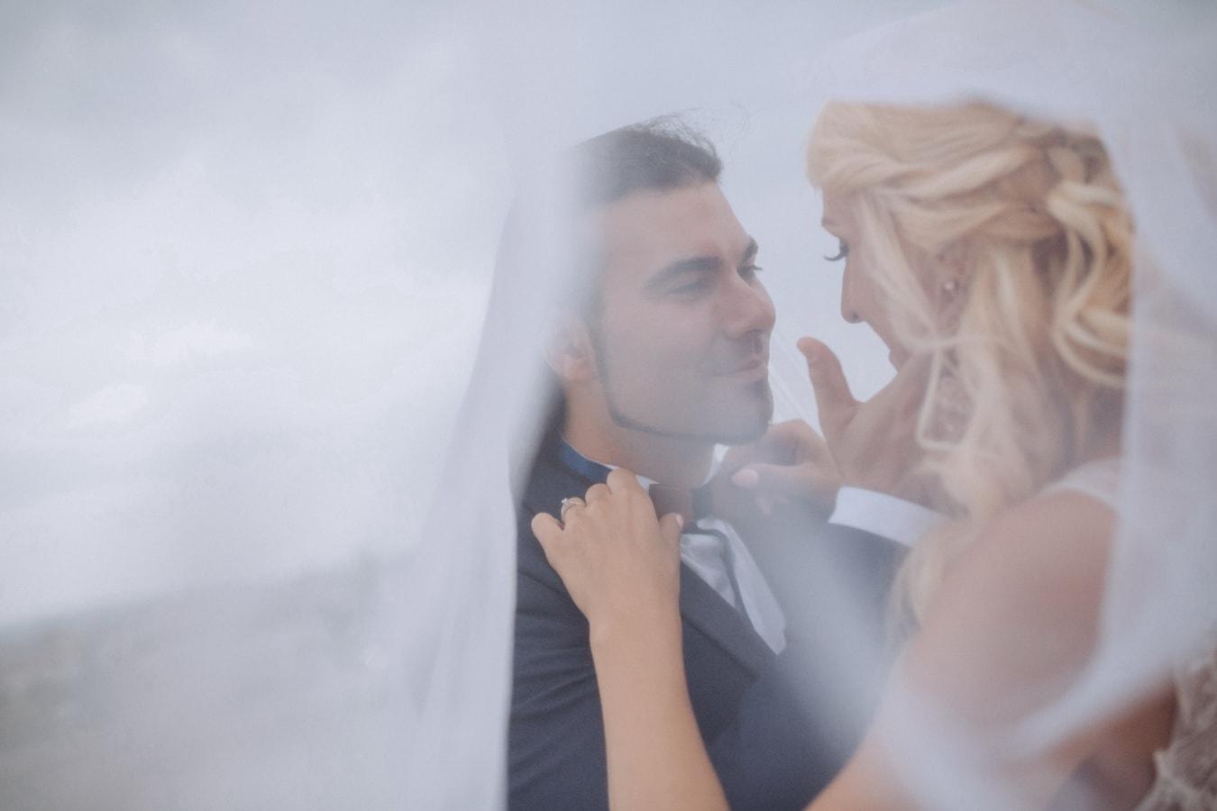 groom, bride, underneath, wedding dress, veil, woman, portrait, love, wedding, romance