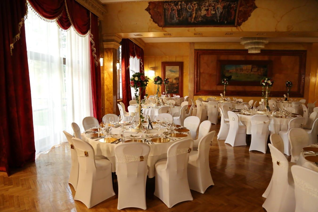 restaurant, fancy, dining area, lunchroom, luxury, elegant, furniture, indoors, room, interior design