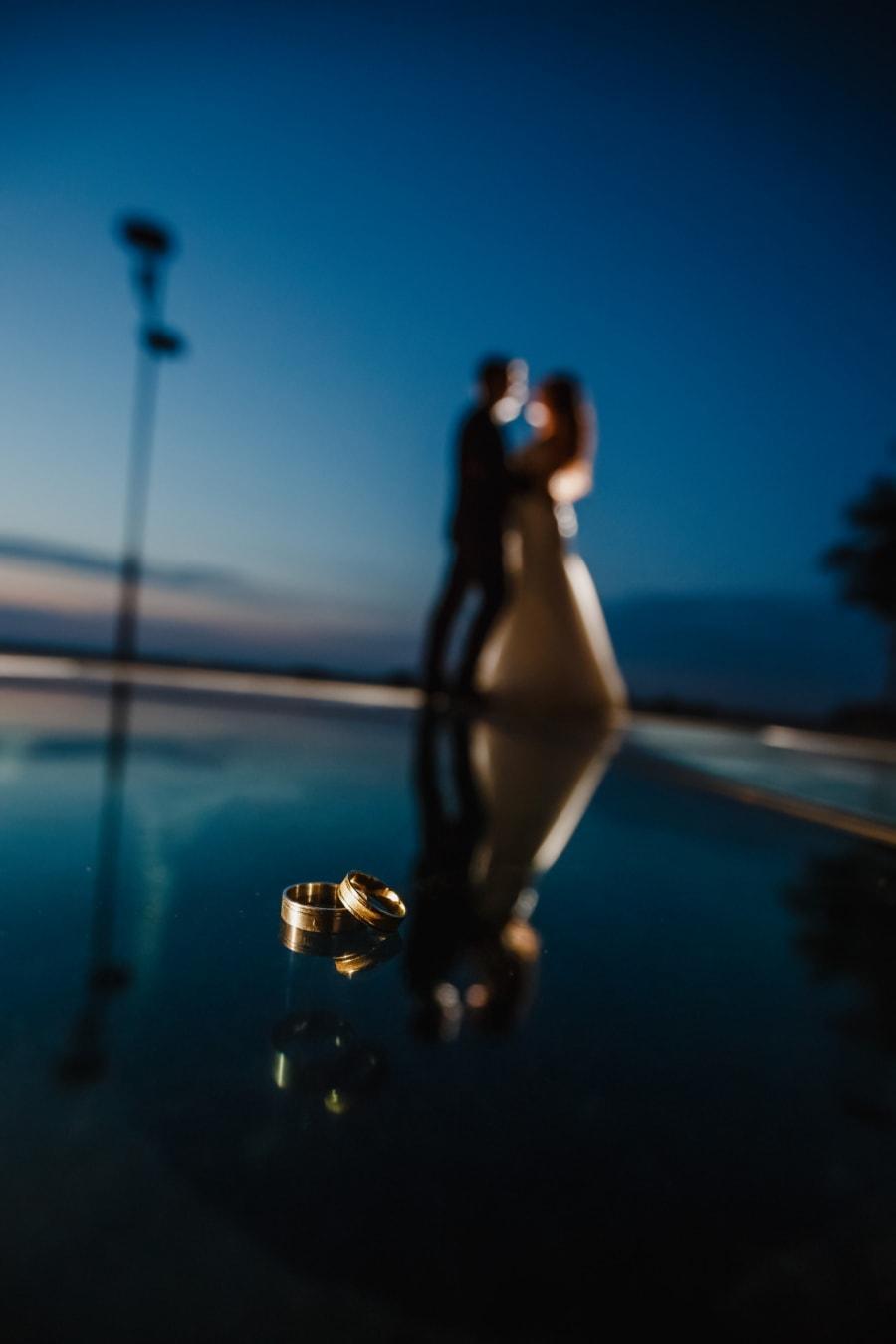 éclat doré, bague de mariage, anneaux, nuit, soirée, petit ami, romantique, petite amie, silhouette, gens