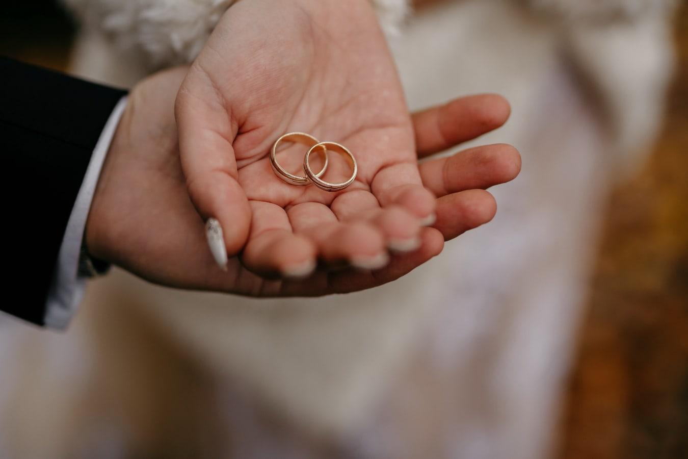 man, holding, woman, hands, gold, wedding ring, hand, skin, finger, wedding
