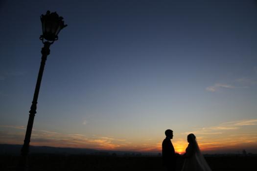 avond, romantische, zonsondergang, vrouw, man, saamhorigheid, staande, silhouet, zonsopgang, verlichting