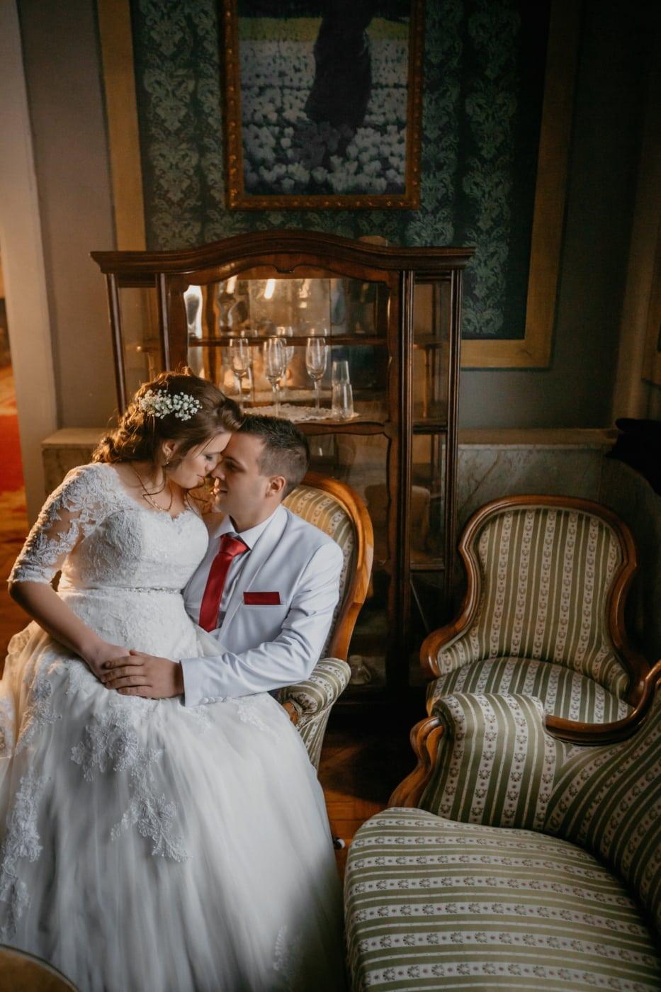 музей, булката, младоженец, седи, фантазия, мебели, сватба, хора, жена, стая