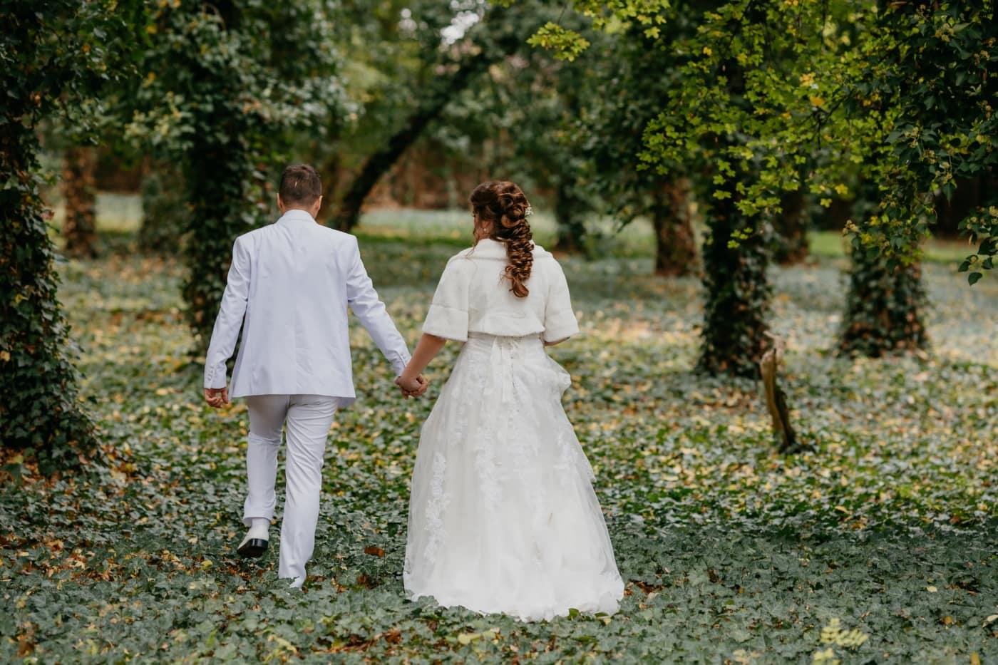 Smokinganzug, weiß, Hochzeitskleid, Fuß, Mann, Wald, Efeu, Ehefrau, Mädchen, verheiratet