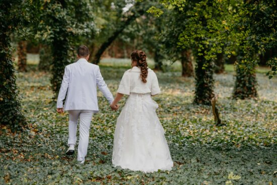 tuxedo suit, white, wedding dress, walking, husband, forest, ivy, wife, girl, married