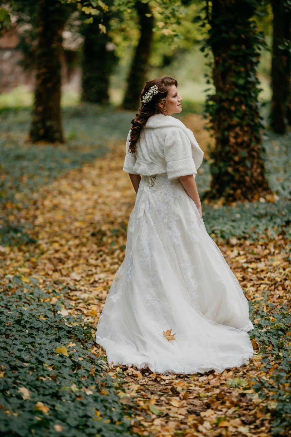 robe, robe de mariée, blanc, la mariée, forêt, princesse, seul, mariage, jeune fille, Portrait