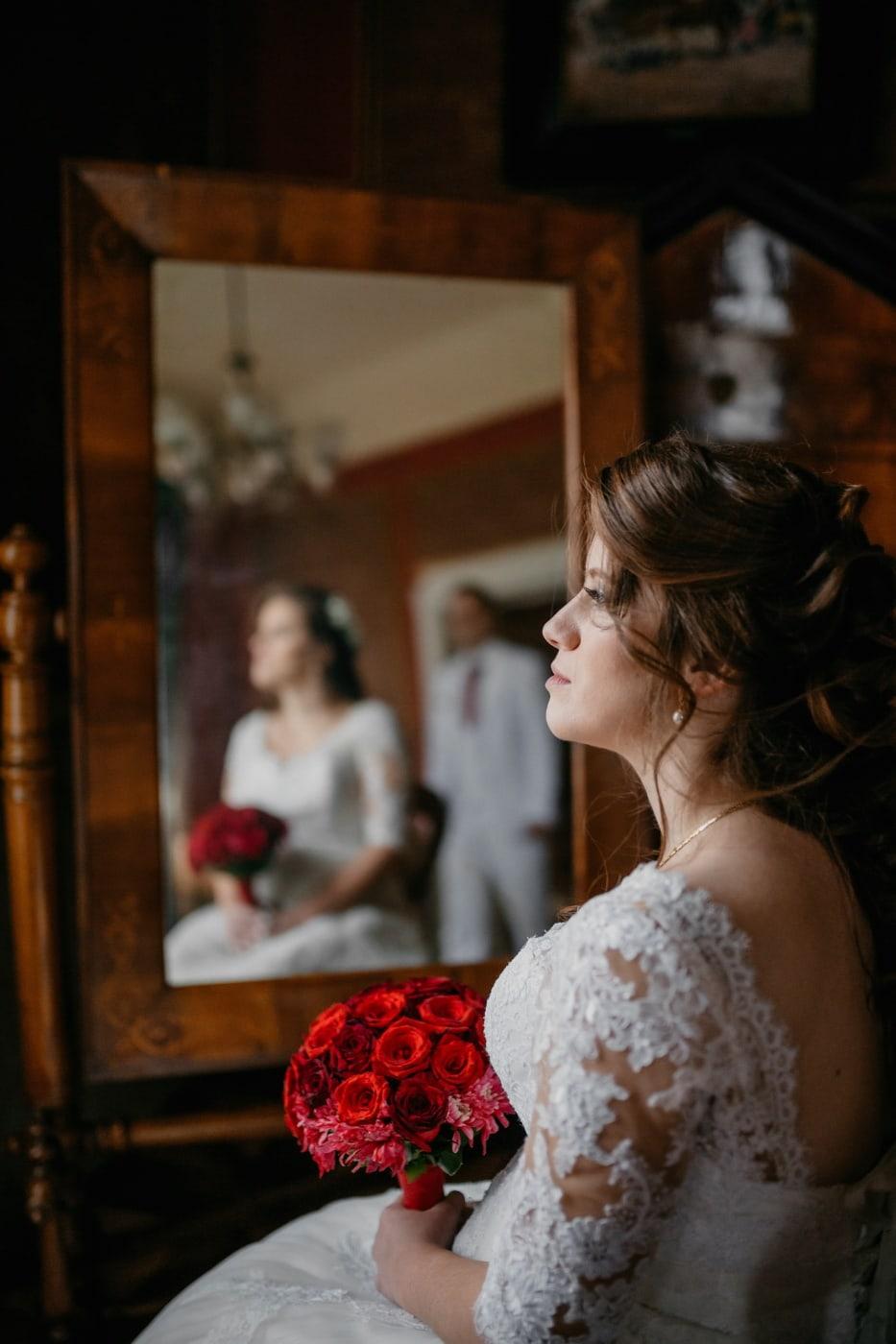 lady, brunette, gorgeous, bride, salon, sitting, wedding, woman, people, love
