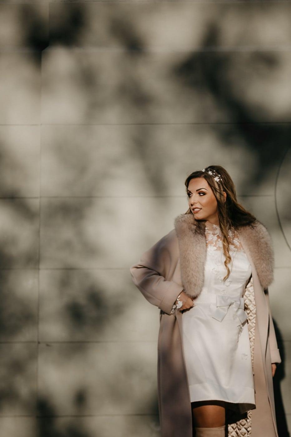 pastel, jeune femme, manteau, brun clair, joli, mode, attrayant, cheveux, modèle, Portrait