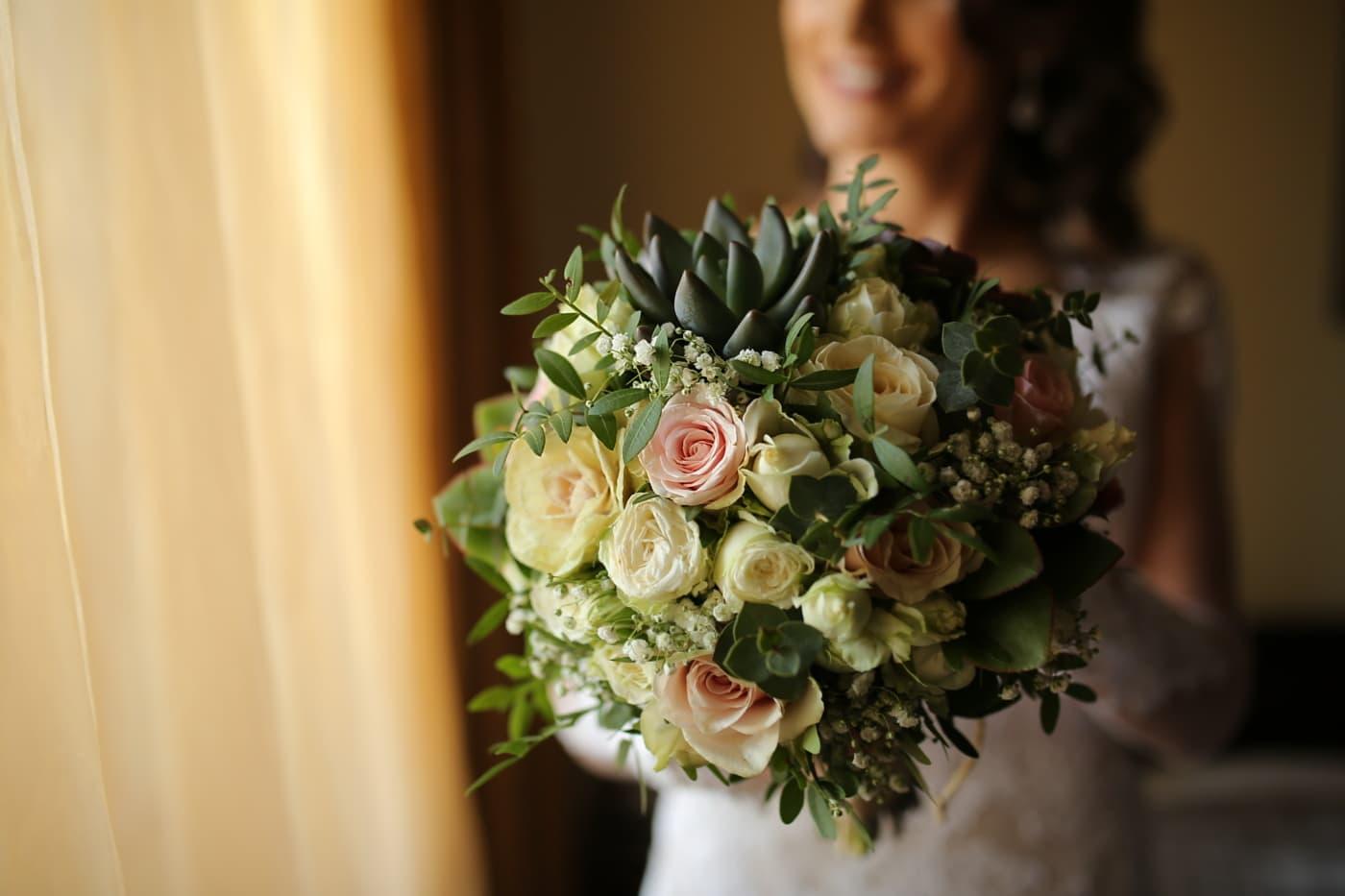 izbliza, svadbeni buket, mlada, spavaća soba, romansa, vjenčanje, buket, cvijet, angažman, ruža