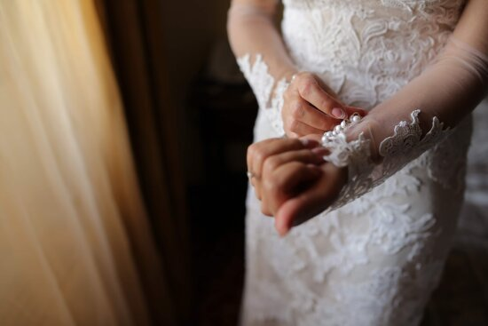 hands, bride, touch, wedding dress, glamour, wedding, woman, indoors, engagement, dawn