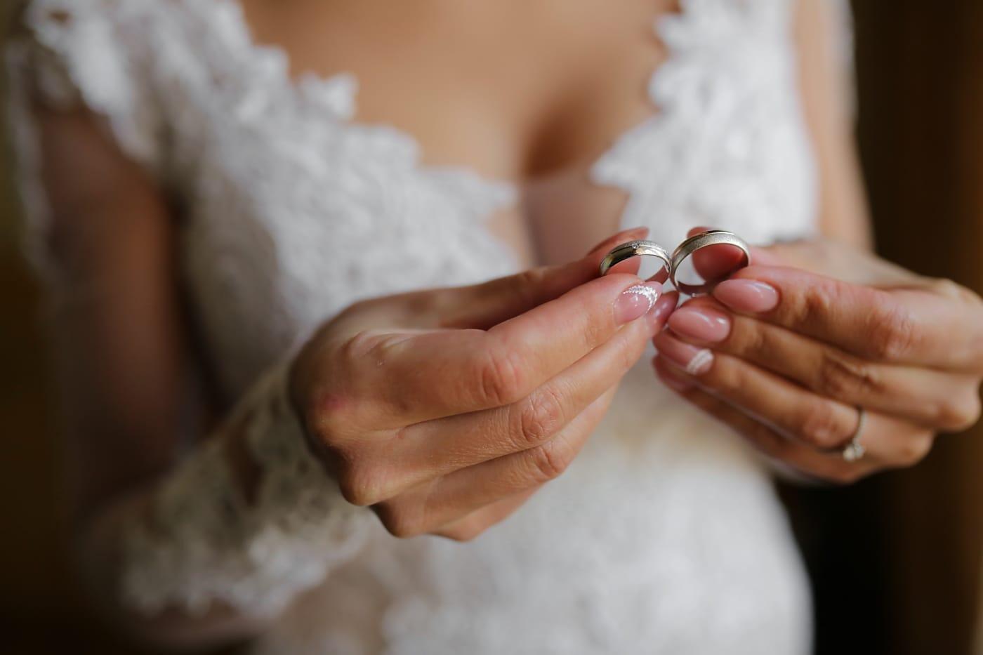lueur dorée, bague de mariage, manucure, la mariée, mains, femme, main, doigt, amour, engagement