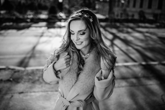 winter, coat, smiling, pretty girl, gorgeous, glamour, black and white, enjoyment, happy, monochrome