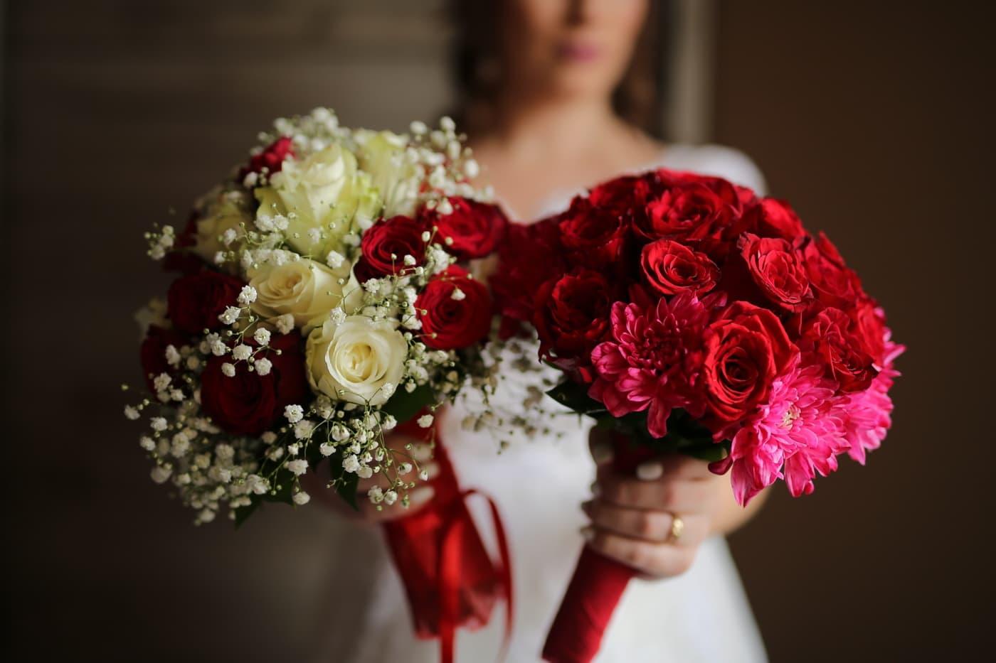 roser, bryllup bukett, rødlig, bukett, ordningen, ekteskap, steg, kjærlighet, romantikk, bruden