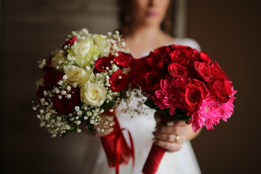 roses, wedding bouquet, reddish, bouquet, arrangement, marriage, rose, love, romance, bride