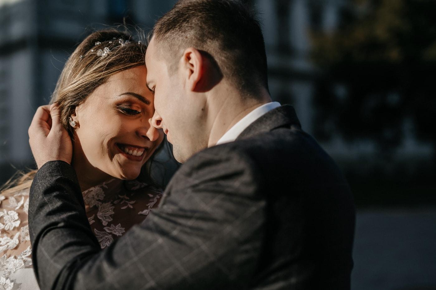 boyfriend, tenderness, girlfriend, close-up, smile, portrait, embrace, affection, love, woman