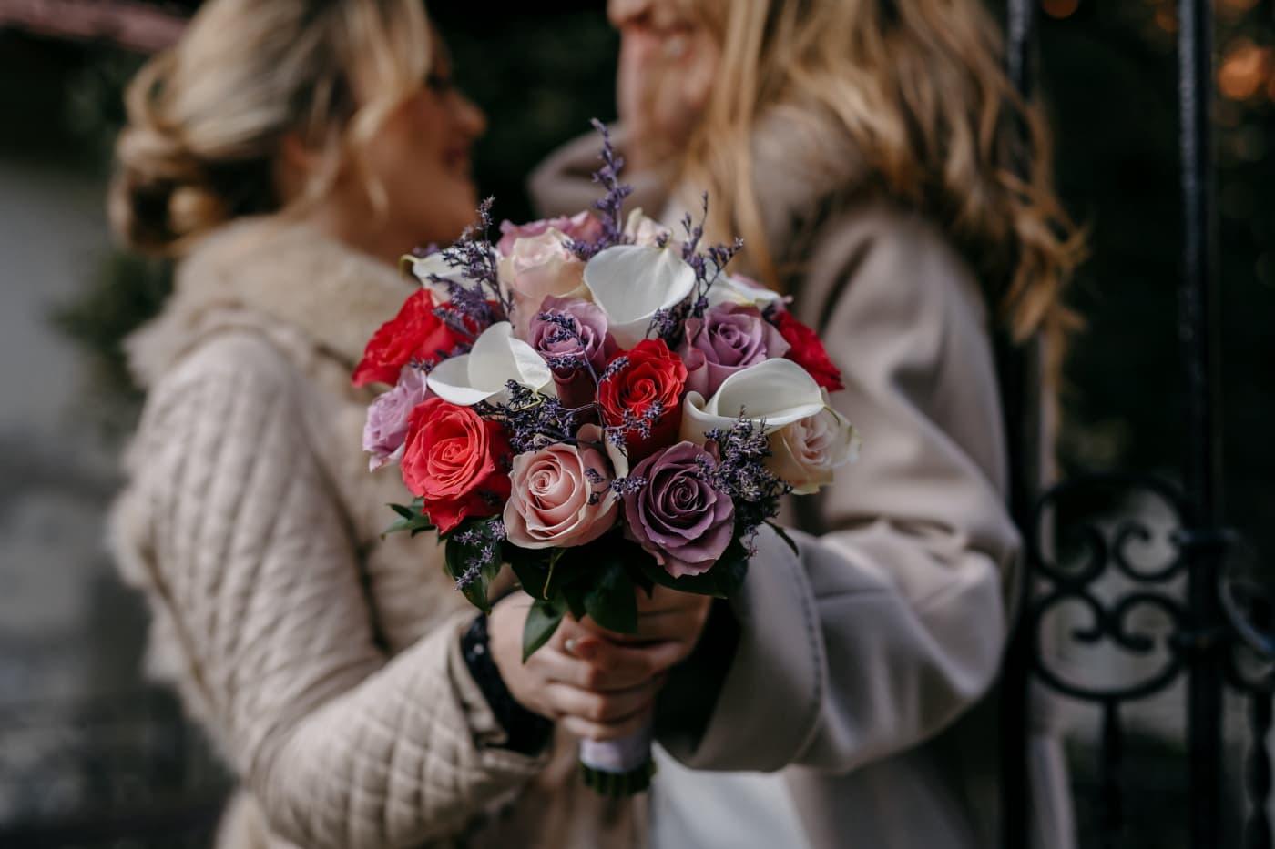 des roses, bouquet, romantique, tendresse, émotion, petite amie, jeunes filles, Rose, amour, femme
