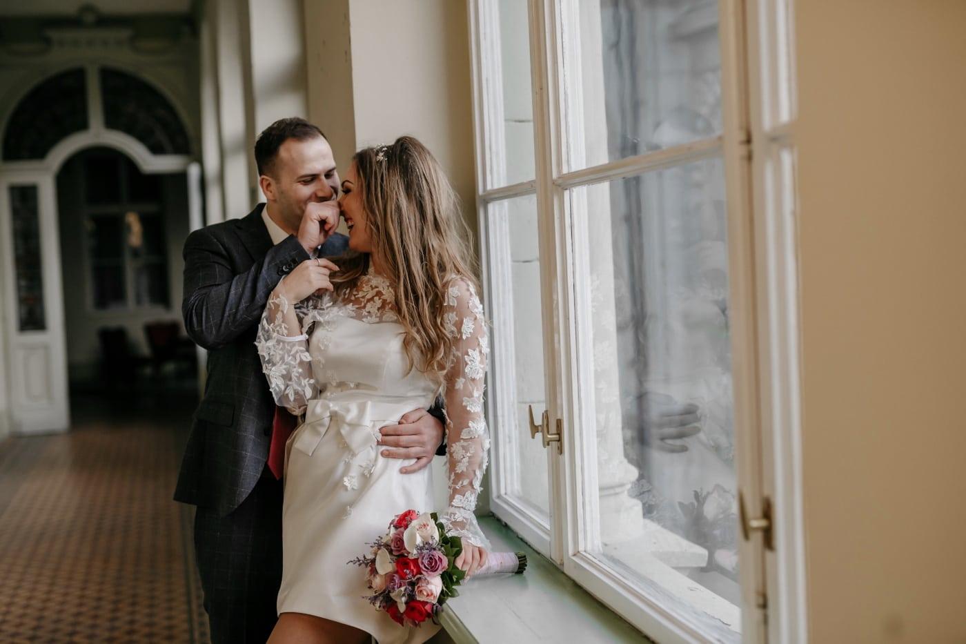 just married, hallway, home, woman, groom, couple, bride, wedding, love, man