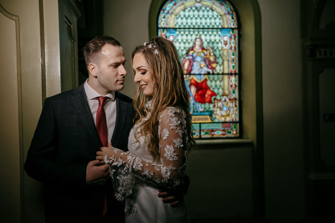 love date, church, groom, bride, inside, people, man, woman, girl, portrait