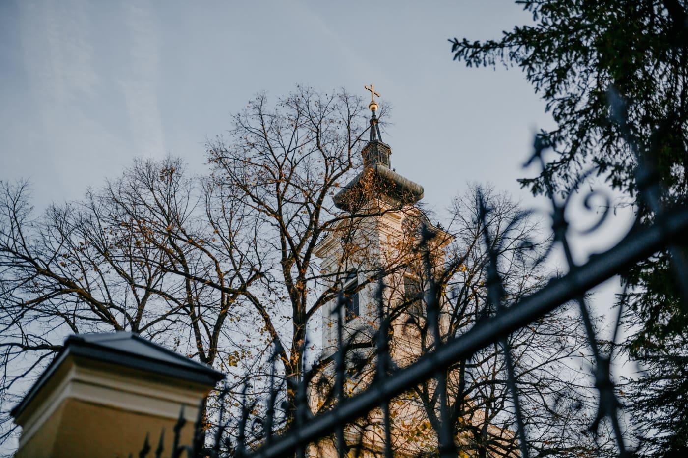 kyrktornet, ortodoxa, kyrkan, staket, träd, staden, Skapa, arkitektur, landskap, urban