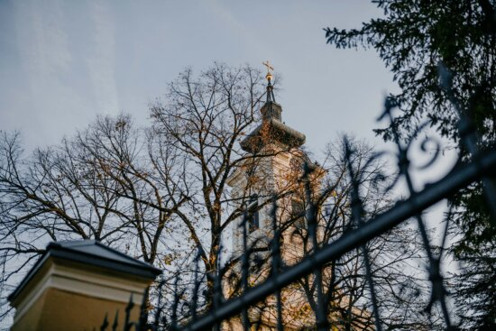 church tower, orthodox, church, fence, tree, city, building, architecture, landscape, urban