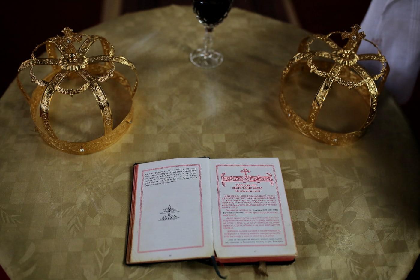 hagyomány, Biblia, korona, koronázás, esküvő, vallási, könyv, arany, téli, ragyogó