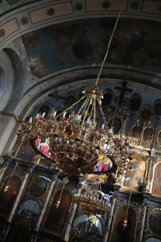 chandelier, hanging, gold, inside, russian, church, orthodox, religion, architecture, cathedral