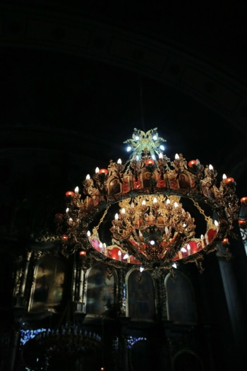 chandelier, church, light, light bulb, ornament, darkness, religion, architecture, art, cathedral