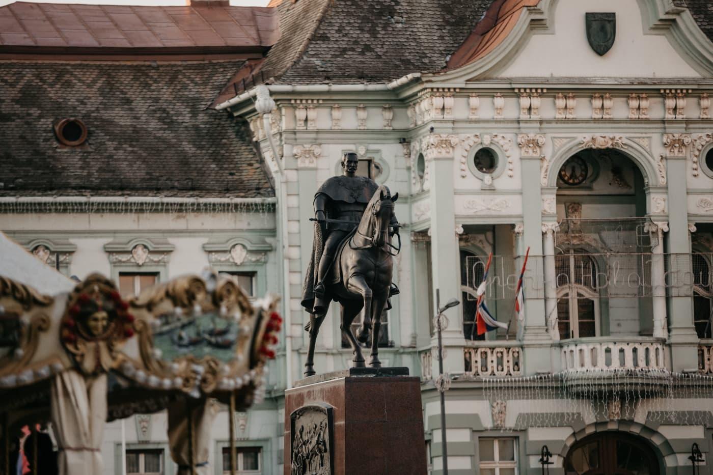 centro de la ciudad, escultura, Bronce, área urbana de, calle, Memorial, estatua de, monumento, construcción, fachada